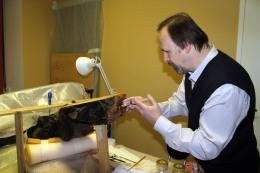 Целительный укол для скульптуры. Реставратор высшей категории Владимир Симонов начинает укреплять деревянную фигуру.